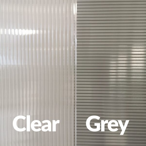Two canopies side by side, one with clear glass the other with grey glass. They are labelled 'clea' and 'grey'