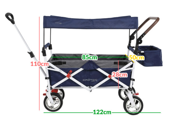The Crotec Pram wagon with sun canopy attached with the dimensions written on top. They are: Overall height: 110cm, overall length: 122cm, carry basket length: 85cm, carry basket height: 28cm, depth: 50cm.