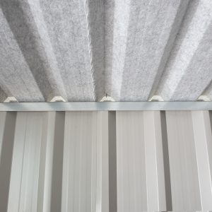 Internal roof and Anti-con lining of PVC Cladded Shed from Sheds Direct Ireland