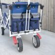 A detailed view of the pockets on the Crotec Pram Wagon