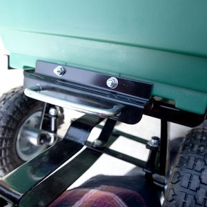 Detail on locking mechanism on the Tipping Utility Cart from Sheds Direct Ireland