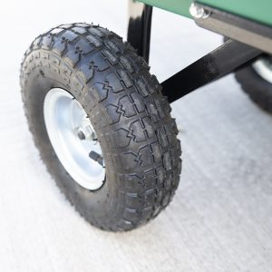 Detail on anti puncture wheel on the Tipping Utility Cart from Sheds Direct Ireland