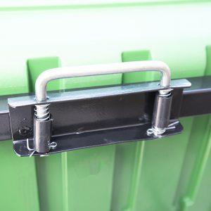 250 litre tipping cart locking mechanism handle details