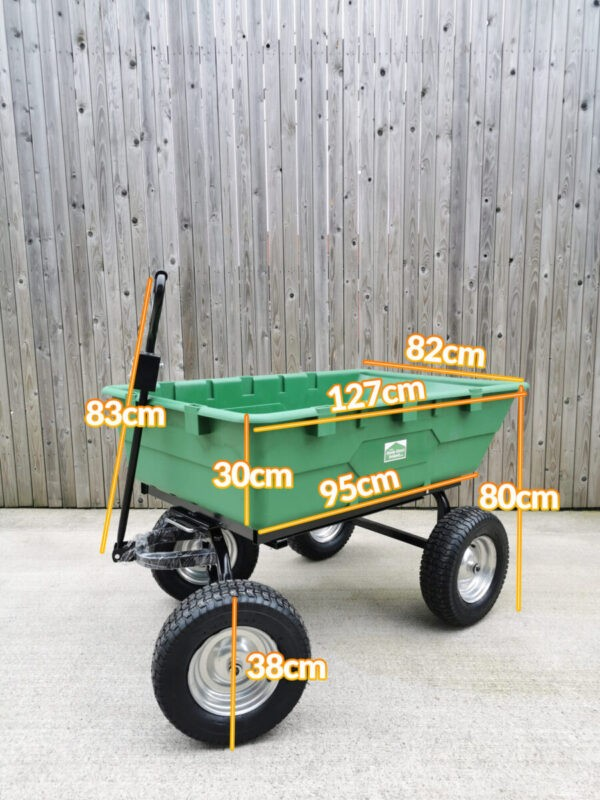 Dimensions of the 250L tip cart