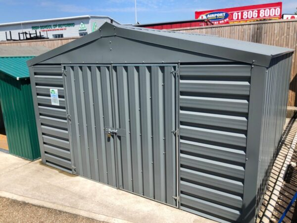 The exterior top down view of a PVC cladded shed from Sheds Direct Ireland