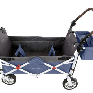 Crotec Wagon Pram in Blue, viewed from above featuring two seatbelts