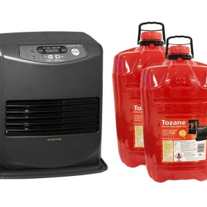 The inverter Paraffin heater and tozane fuel side by side. The heater is standing at an angle and the two bottles of fuel are red and just off to the side of the Inverter