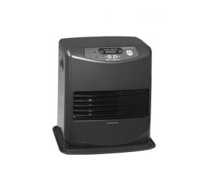 Inverter Heater from Sheds Direct Ireland. It is standing against a white background and the thermostat display is currently blank. There is nothing else in the scene.
