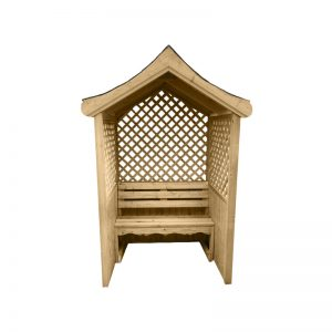 A wooden, garden arbour against a white drop. It features a chair inlay and a mesh, overlapping wood backboard