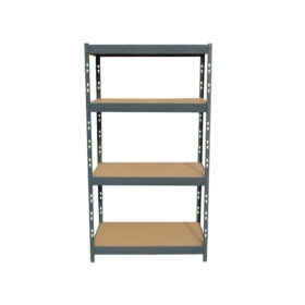 Shelves against a white backdrop. There are 4 tiers and the tiers have wooden bases.