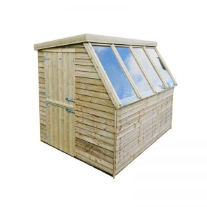 wooden potting gardening shed from sheds direct ireland, featuring large windows