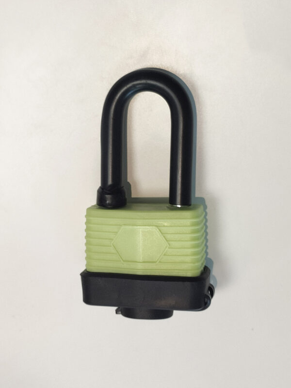 A green rubber covered black padlock