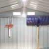 A wide angle picture of the inside of a shed with the focus on two took hooks on the back wall. One is supporting a large, blue snow shovel. The other is supporting a small, red squeegee. The hooks are 30cm long, 10cm wide and they have a picture of a shovel indented into the,