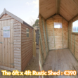 The 6ft x 4ft rustic shed. There are two photos here, the one on the left shows a front view with the door open. The one on the right shows a 45 degree angle where the door is closed, but the window is visible. It's the same shed. They are both a pale, pleasant brown colour. The sky is a bright blue above.