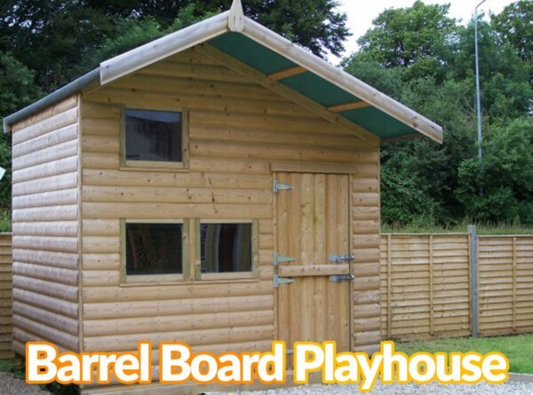 A wooden children's wooden playhouse with the text that reads 'barrel board playhouse' on top of it.