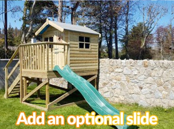 A picture of the treehouse with a slide attached to it. The slide it bright green and slightly wavy, rather than straight. It says 'add an optional slide' on it.