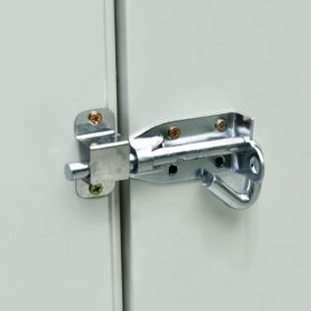 The locking mechanism for this unit. It is bolt lock, with a curved handle. It is entirely made of metal and there are 6 scrws visible. The photo was taken with a flash, so it it's reflecting light very harshly.