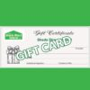 A view of the Sheds Direct Ireland Gift Card. It is customisable and has the brand logo and a picture of a present to the left hand side.