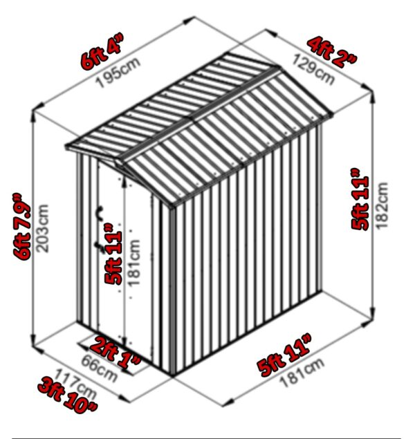 A drawing of the shed with the dimensions overlaid onto it. The eve height is 5 foot 11 inches, the apex is 6ft 7.9 inches. It's 3ft 10 inches wide and 5ft 11 inches deep. The door opens 2ft 1 inch wide.