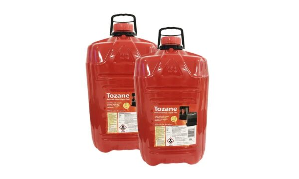 Two bottles of Tozane Fuel standing beside each other. The containers are red and squat, with large black handles