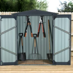 The Small Shed with doors open. There are 5 tools attached to the hooks within.