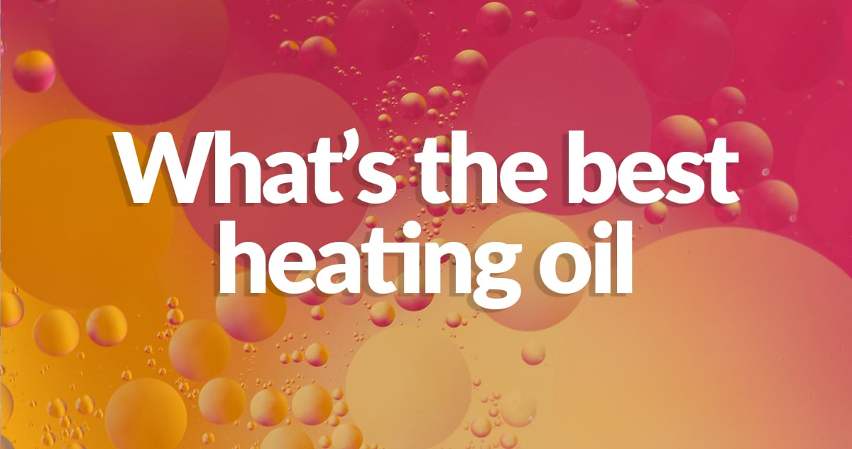 Oil and water mixing together against a pink and orange backlight with the text