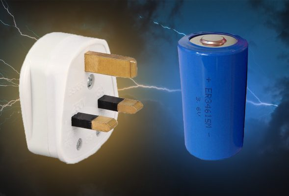 A plug main power and a large blue battery floating in the sky. They are clearly about to fight to the death, or something to that end. It is a battle to see what's better in a heater - mains power or battery power