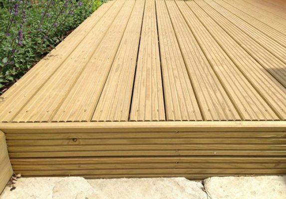 Decking that is suitable for a Steel Shed. It is horizontally laid and it is supported with a side wall