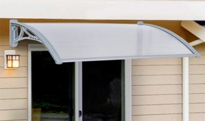 A Door Canopy above a sliding door. The
