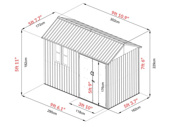 The dimensions for the 10ft x 6ft Steel Cottage shed. It's 9 foot 10 inches long, 5 foot 7.7 inches deep and 7 foot 6 inches tall. The door opens to 3 foot 10 inches and the door height is 5 foot 9 inches.