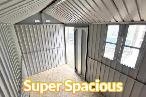 The interior view of the steel cottage shed 10ft x 6ft as seen from the corner, looking down