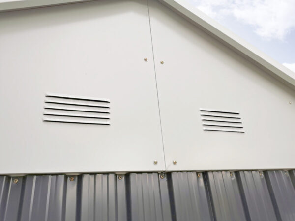 The vents on the steel cottage shed