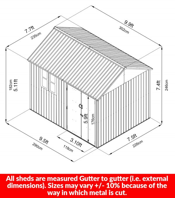 the dimensions of the 10ft x 7.5ft steel shed. It's noted in cms and ft. It notes that the shed is measured from the widest point (i.e. gutter to gutter) and that the size may vary +/- 10% because of the way in which metal is cut