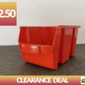 """Dublin deal bargain"" - a photo of a red tool bucket. The sign above says €2.50"