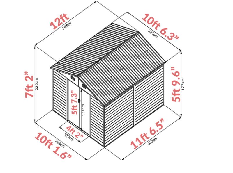 The Woodgrain 10ft x 12ft Dimensions
