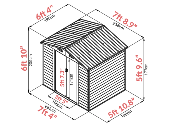 8 foot x 6 foot Woodgrain Shed Dimensions