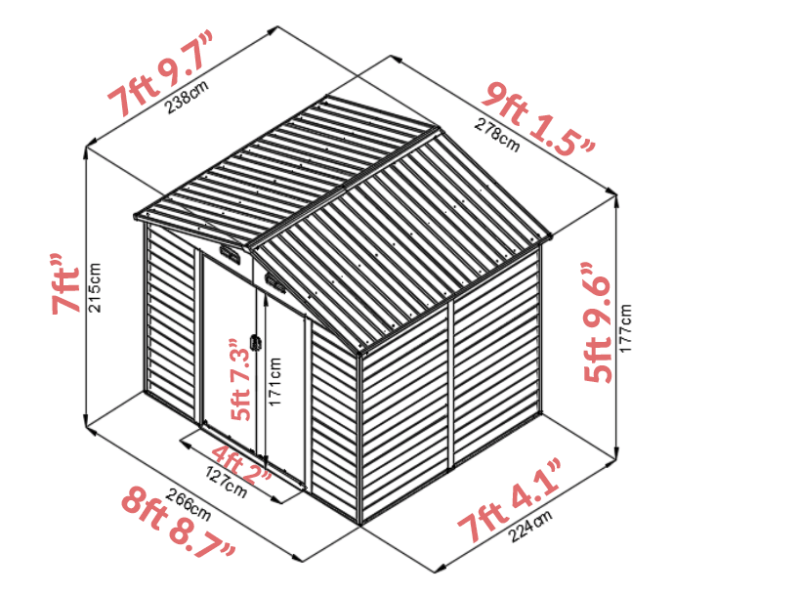 Woodgrain 9x8 Dimensions as a graph