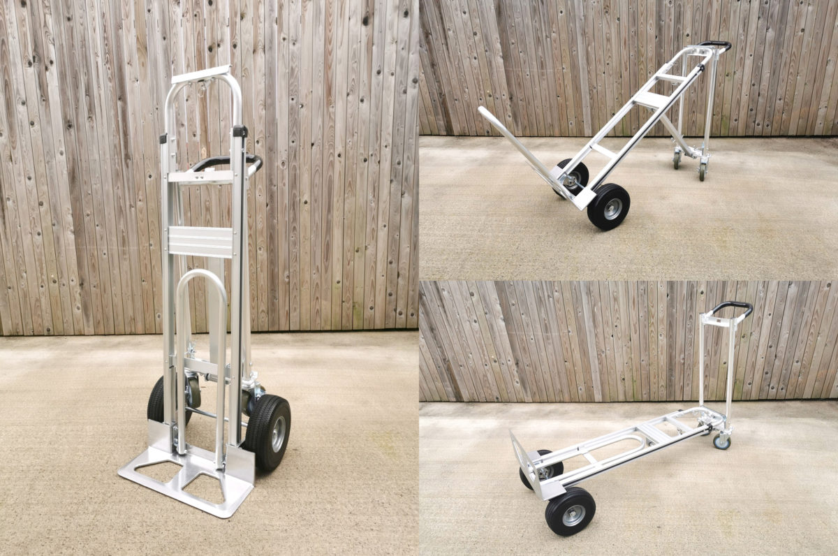 Three photos stitched together showing the 3 in 1 trolley in it's various transformations. On the left, the silver trolley is in it's standard formation. The top right shows the 3 in 1 in a 90 degree tilted position, with the caster wheels at a 90 degree angle. The final, bottom right image shows the flatbed position.