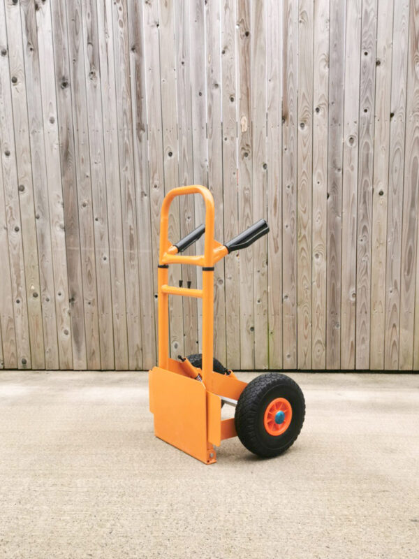 The collapsible sack truck at it's smallest with the footplate folded