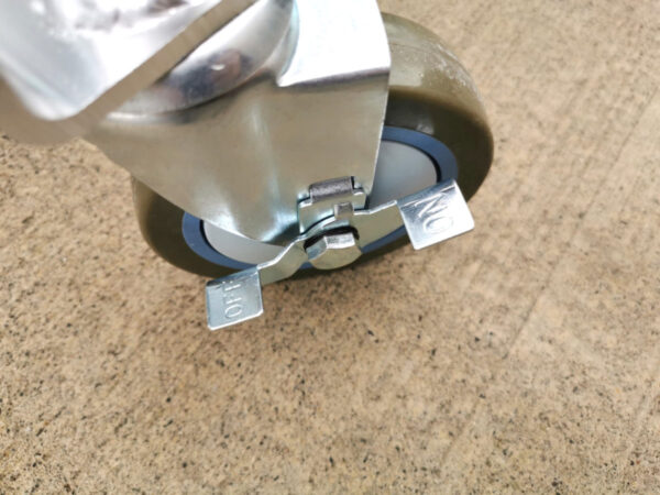 Details of the locking mechanism on the wheels.