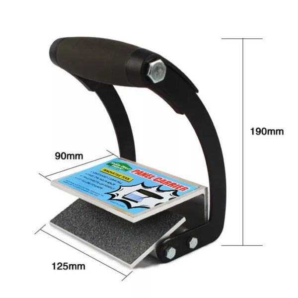 The Dimensions of the Panel Carrier Grip. It's 19cm high, 12.5cm wide and the depth of the grip plate is 9cm.