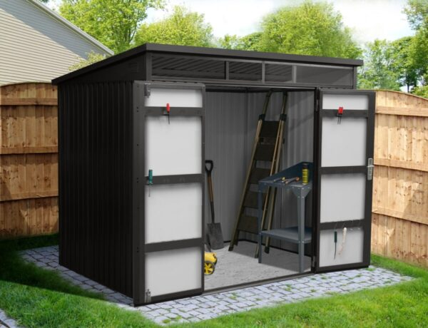 Premium Pitched Shed with the two doors fully open showing the light-grey interior, concrete floor, a workbench and a shovel inside.