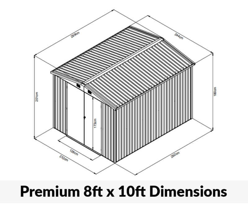 8ft x 10ft Premium Shed Dimensions