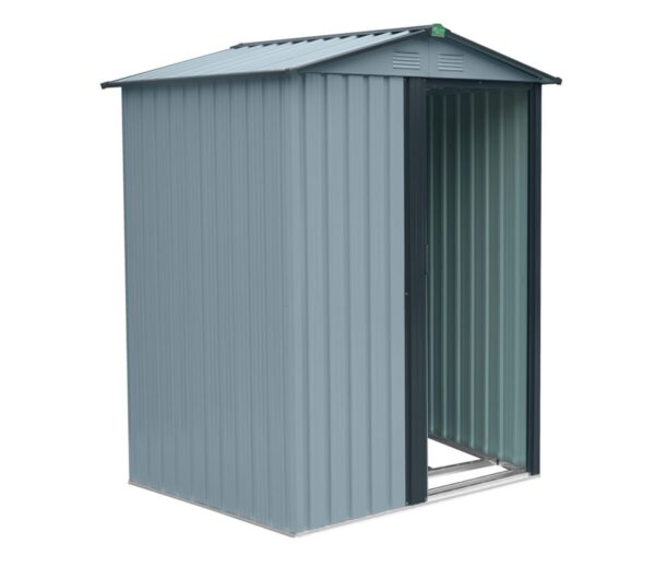 The Tiny Garden Shed at a 45 degree angle with the door open