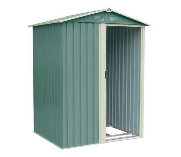 A 45 degree angle view of the front of the olive green version of the tiny shed. The door is open