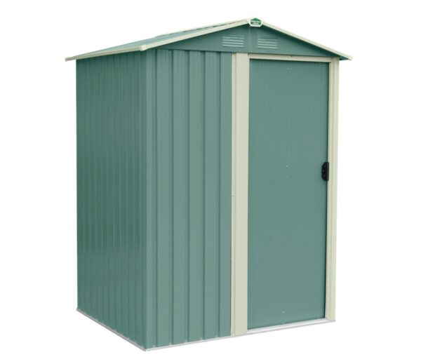 A 45 degree angle view of the front of the olive green version of the tiny shed. The door is closed