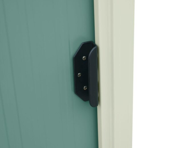The door detail on the olive green version of the Tiny Shed