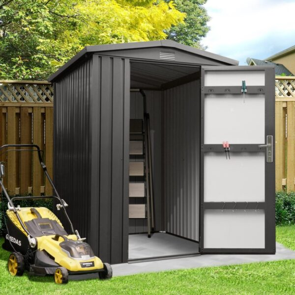 Premium Apex Shed 6ft x 5ft. It's a black-grey colour and the door is opening showing the gpaler grey inside.