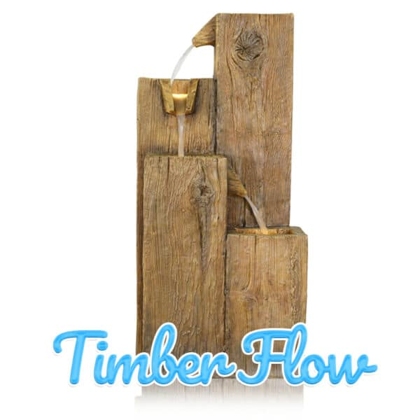 Timber Flow is the name of this piece, which sees four pieces of woodlike panels pour water through beaklike spouts into the smaller panel below. There are LED lights in two of the panel's tops.