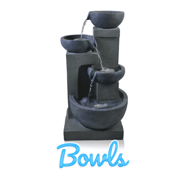 A four tiered, dark-grey water feature. It is four bowls on four plints of various heights pouring water into one another. The bowls get larger and wider as they cascade down.